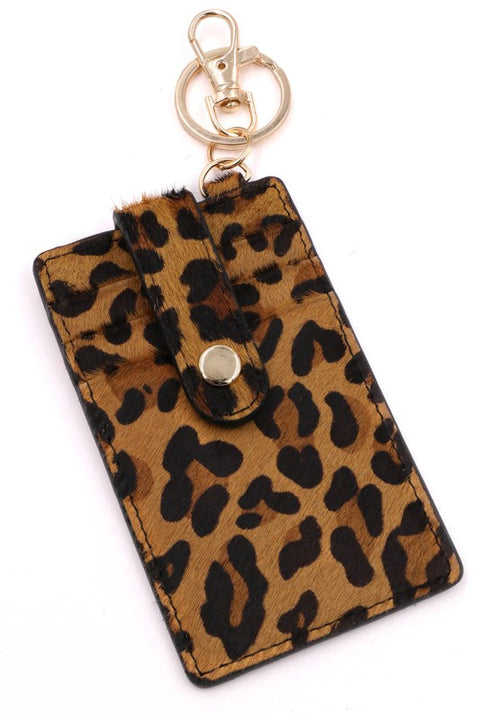 Faux Leopard Hide Card Holder