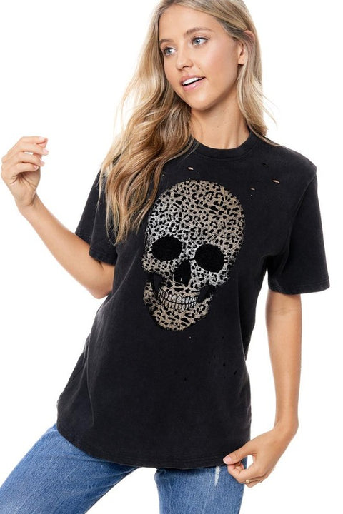 Distressed Leopard Skull Tee