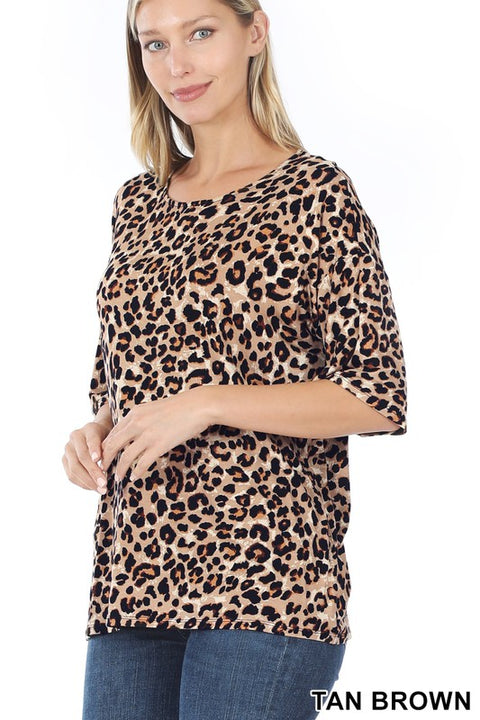 Leopard Half Sleeve Brown