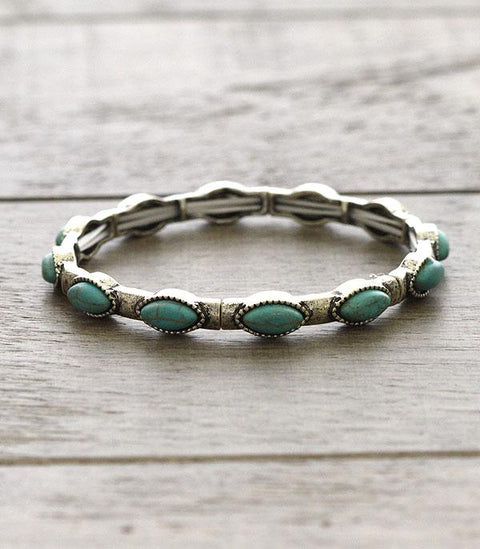 Stackable Stretch Bracelet Turquoise Oval
