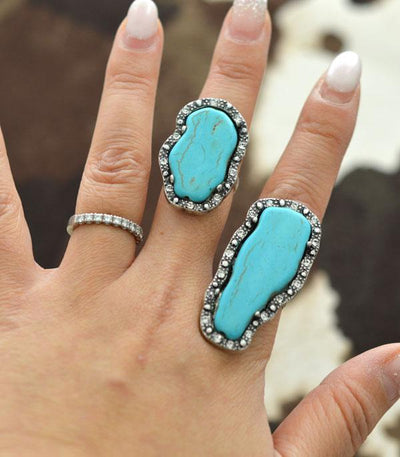 Turquoise Framed Ring Large