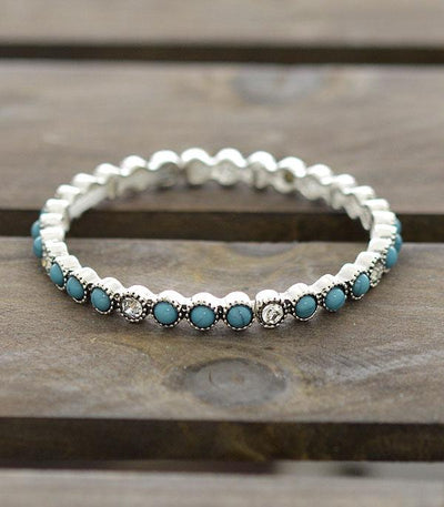 Stackable Stretch Bracelet Turquoise/Bling