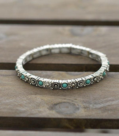 Stackable Stretch Bracelet Turquoise/Floral