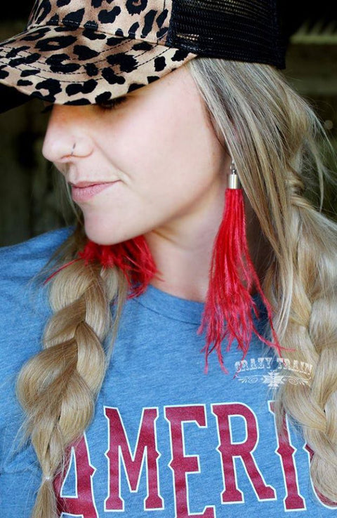 Shake Ya Tail Feather Earrings Red