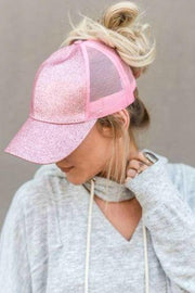 Glitter Messy Bun Hat Mint
