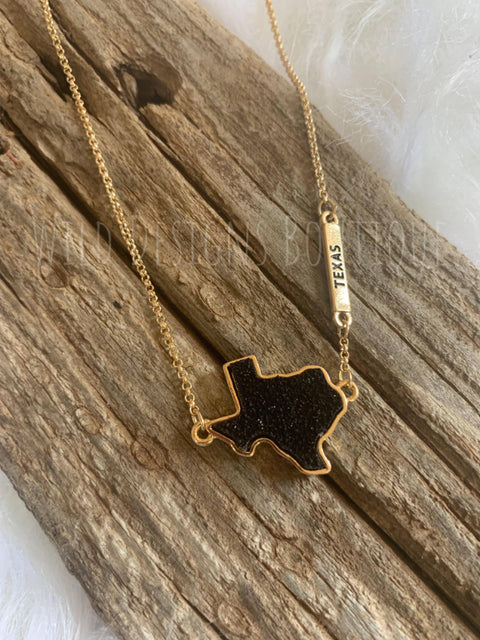Druzy Texas Necklace Gold/Black