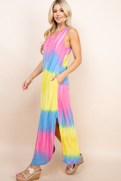 Rainbow Sorbet Tie Dye Maxi Dress
