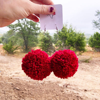 Large Pom Pom Earrings Red