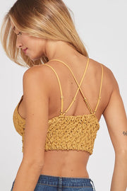 Peek-A-Boo Exclusive Scalloped Lace Bralette Mustard