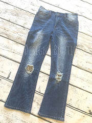 Leopard Patch Flared Capris