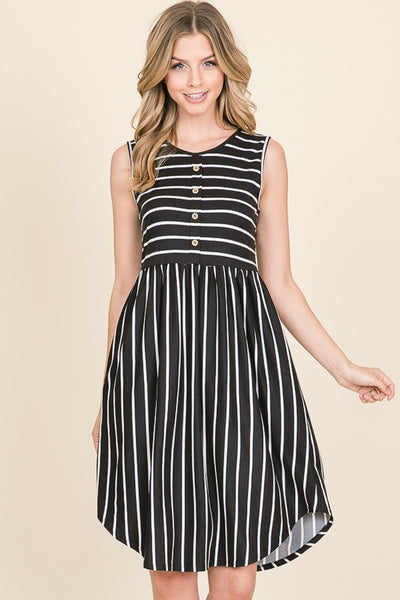 Button Detailed Striped Midi Dress Black