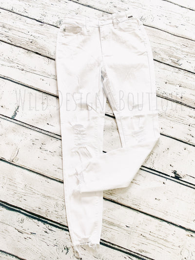 White Distressed Skinnies 8462