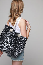 Leopard Beach Bag Black