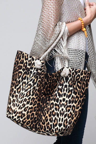 Leopard Beach Bag Brown