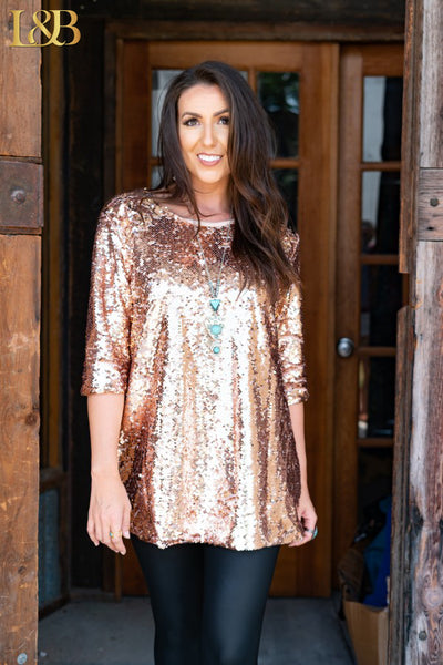 Sequin Holiday Top Rose Gold