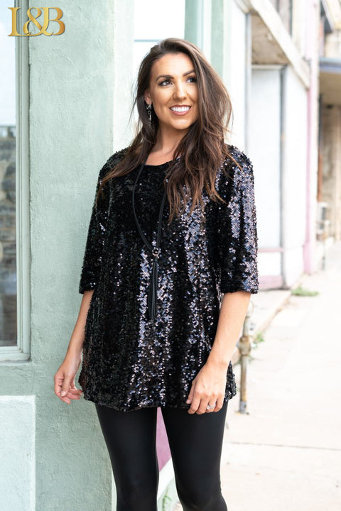 Sequin Holiday Top Black