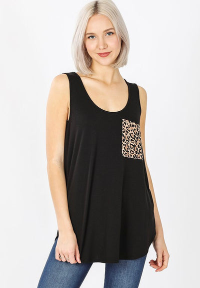 Leopard Pocket Tank Black