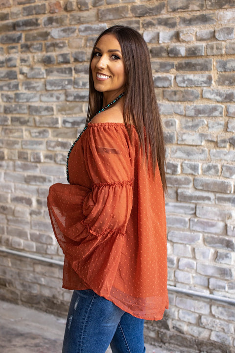Dotted Ruffle Sleeve Blouse Rust