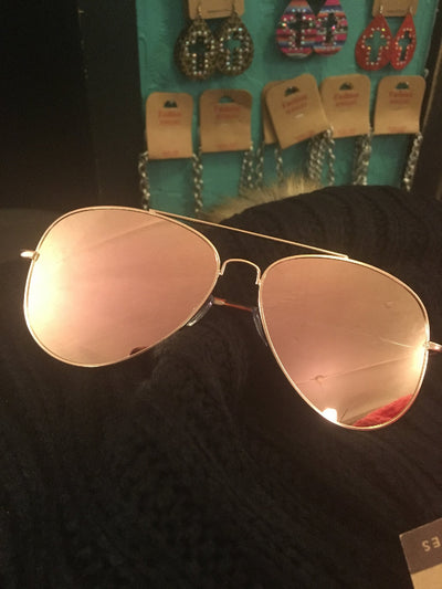 Rose Colored Glasses Reflective Aviators