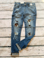 Livin' On The Edge Leopard Patch Jeans