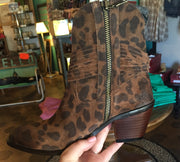 L&B Italian Leather Leopard Booties