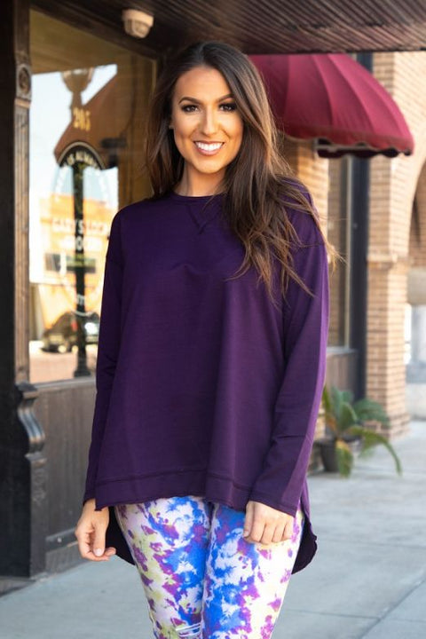 Crew Neck Pullover with Slits Purple