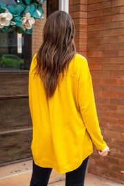 Crew Neck Pullover with Slits Mustard