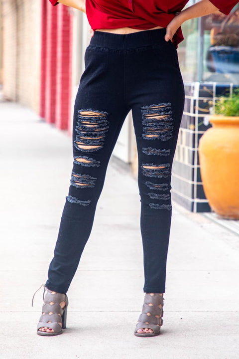 Black Distressed High Waisted Jegging