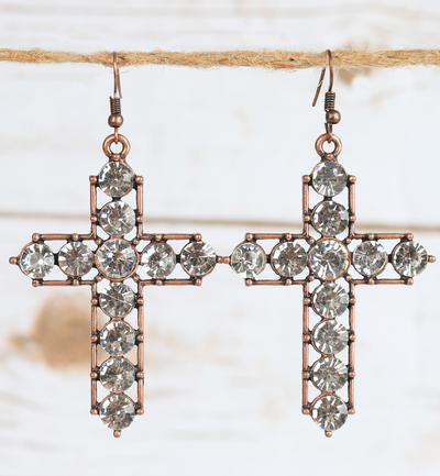 Chunky Crystal Cross Earring Copper