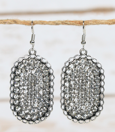 Chunky Crystal Oval Earring Silver