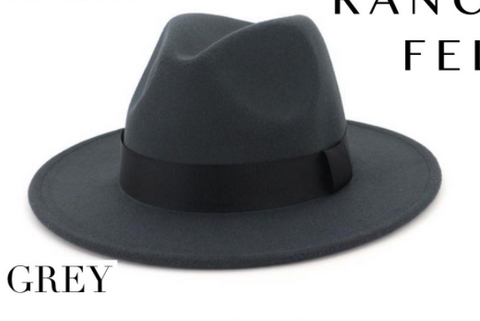Rancher Felt Hat Charcoal Grey