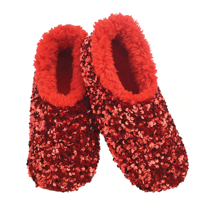 Sequin Glam Slippers Red
