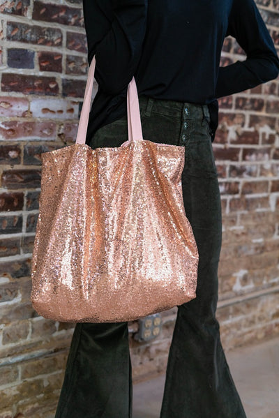 Sequin Tote Bag Rose Gold
