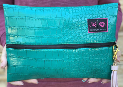 Makeup Junkie Bags Turquoise Gator