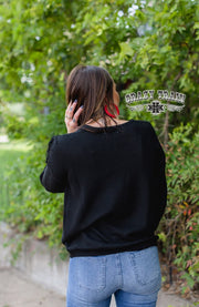 Vaquera Vibes Fringe Sweater Black