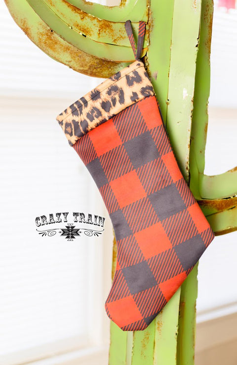 Sassy Santa Stocking Leopard/Buffalo Plaid