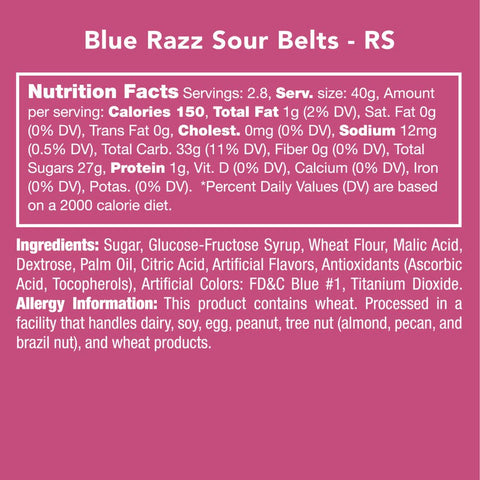 Blue Razz Sour Belts Candy Club