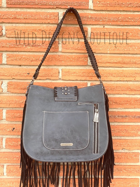 Hair-On Leather Concealed Carry Hobo Black