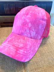 Tie Dye High Pony Tail Cap Hot Pink