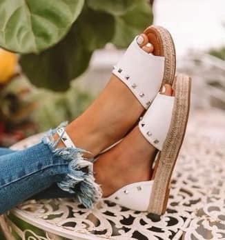 Finley Studded Sandals White