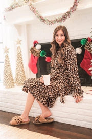 Fallen Fleece Leopard Robe