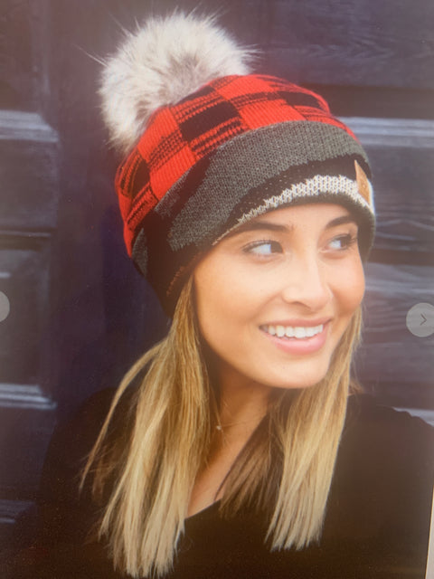 Red Plaid/Camo Pom Pom Beanie