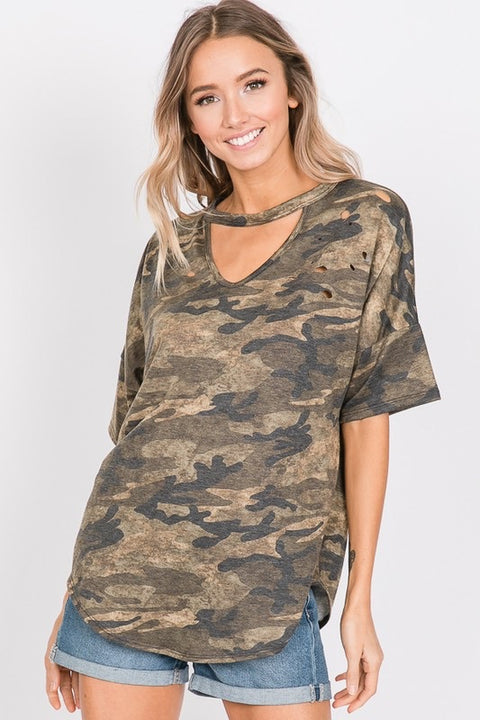 Distressed Camo Choker Top