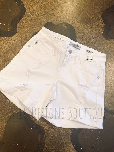 White Distressed Cuffed Shorts