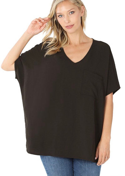 Woven Pocket Tunic Black