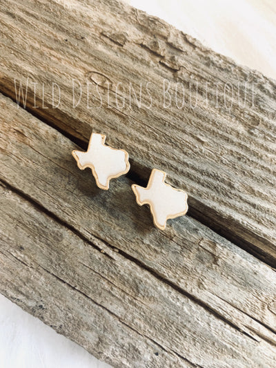 Druzy Texas Earring Gold/White