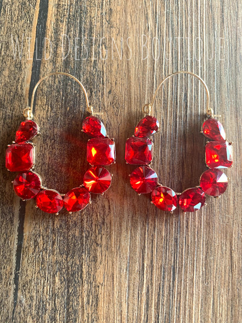 Blingy Jeweled Earrings Red