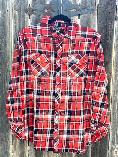 Bleached Plaid Flannel Red/Black LAST ONE SALE!