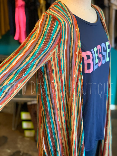 Multicolor Striped Kimono LAST ONE SALE!