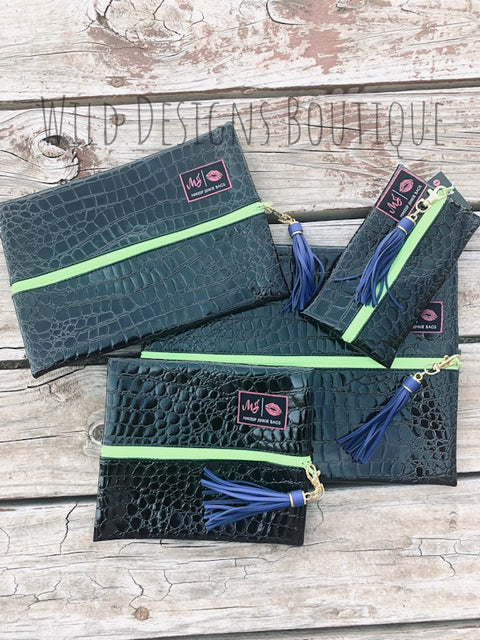 Makeup Junkie Bags Midnight Gator Lime Zipper